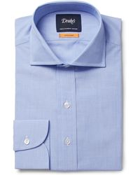 Drake's - Blue Easyday Cutaway-collar End-on-end Cotton Shirt - Lyst