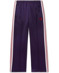 Needles - Embroidered Striped Satin-jersey Track Pants - Lyst