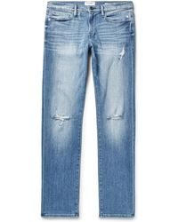 FRAME - L'homme Slim-fit Distressed Stretch-denim Jeans - Lyst
