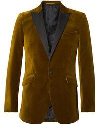 Favourbrook - Saffron Slim-fit Grosgrain-trimmed Cotton-velvet Tuxedo Jacket - Lyst