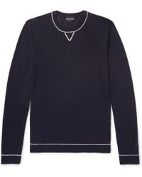 Giorgio Armani - Contrast-tipped Wool And Mulberry Silk-blend Jumper - Lyst