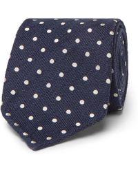Thom Sweeney - 8cm Polka-dot Textured-silk Tie - Lyst