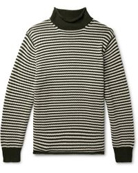 J.Crew - Striped Cotton Rollneck Sweater - Lyst