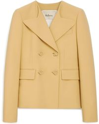 Mulberry - Eugenia Jacket In Dusty Yellow Double Wool - Lyst