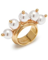 Mulberry - Pearl Ring In White Mother Of Pearl Effect Resin With Beads And Brass - Lyst