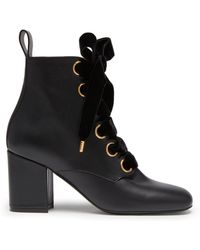Mulberry - Marylebone Lace-up Bootie In Black Smooth Calf - Lyst