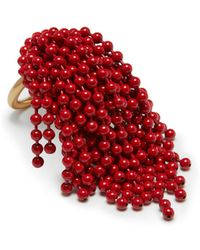 Mulberry - Chandelier Ring In Red Brass Metal And Enamel - Lyst