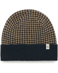 Mulberry - Houndstooth Knitted Beanie In Navy And Camel Lambswool - Lyst