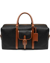 Mulberry - Large Heritage Weekender In Black And Cognac Scotchgrain - Lyst