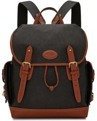 Mulberry - Heritage Backpack In Black And Cognac Scotchgrain - Lyst