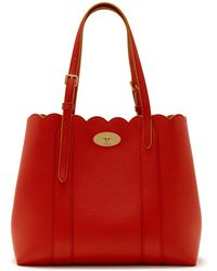 Mulberry - Small Bayswater Tote In Hibiscus Red Small Classic Grain - Lyst