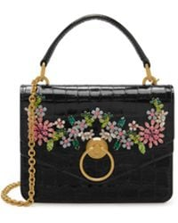 Mulberry - Small Harlow Satchel In Black Shiny Croc With Flower Crystals - Lyst