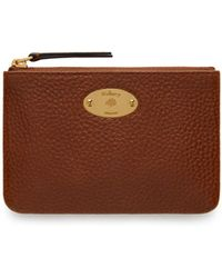 Mulberry - Plaque Small Zip Coin Pouch In Oak Natural Grain Leather - Lyst