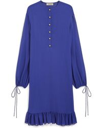 Mulberry - Effie Dress In Indigo Silk Georgette - Lyst