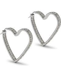 Mulberry - Ribbon Heart Strass Earrings - Lyst