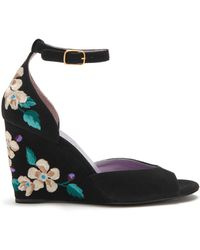 Mulberry - Flower Embroidered Wedge Sandal In Black Embroidered Suede - Lyst