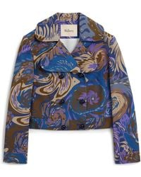 Mulberry - Kaia Jacket In Egyptian Blue Water Wave Crepe - Lyst