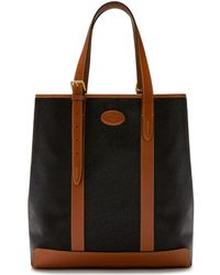 Mulberry - Heritage Tote In Black And Cognac Scotchgrain - Lyst
