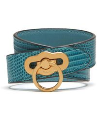 Mulberry - Amberley Double Bracelet In Frozen Embossed Lizard - Lyst