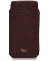 Mulberry - Iphone Cover And Card Slip In Oxblood Natural Grain Leather - Lyst