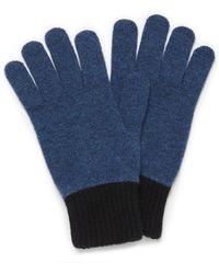 Mulberry - Knitted Gloves In Bright Navy Lambswool - Lyst