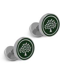 Mulberry - Round Tree Cufflinks In Racing Green Enamel Coated Brass - Lyst