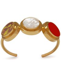 Mulberry - Three Coin Bracelet In Gold, Red And Brown Brass, Stone, Plexi And Enamel - Lyst