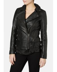 Muubaa - Reval Leather Fitted Biker Jacket In Black - Lyst