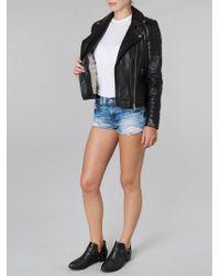 Muubaa - Lobelia Leather Biker Plain Jacket - Lyst