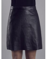 Muubaa - Pannala Black Leather A Line Skirt - Lyst