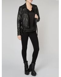 Muubaa - Guilia Leather & Shearling Collar Biker Jacket In Black - Lyst