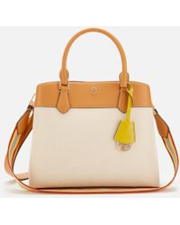 6c1027ba9b9 Tory Burch Robinson Striped Middy Satchel in White - Lyst