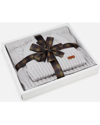 Barbour - Cable Hat & Scarf Set - Lyst