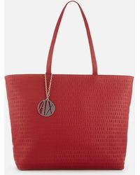 Armani Exchange - All Over Logo Embossed Zip Tote Bag - Lyst