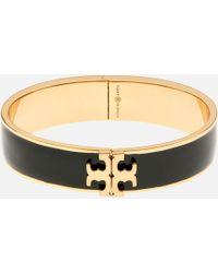 Tory Burch - Raised Logo Enamel Hinged Bracelet - Lyst