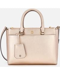 35d53d3d0fa Tory Burch - Robinson Small Metallic Small Double Zip Tote Bag - Lyst