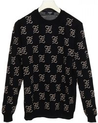 Fendi Wool Pullover With Inlayed Ff Motif All-over - Black