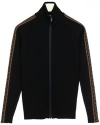 Fendi Wool Jumper With A High Neck And Zip Closing - Black