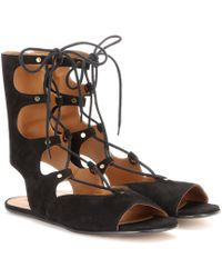 Chloé - Foster Lace-up Suede Gladiator Sandals - Lyst