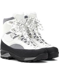 Ganni - Sarai Leather Hiking Boots - Lyst