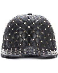 453249bef22 Valentino - Rockstud Spike Leather Cap - Lyst