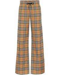Burberry - Check Cotton Trousers - Lyst
