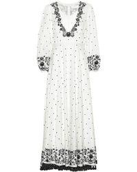 Lyst - Zimmermann Silk Plunge Draped Dress Mist in White 67b397e99