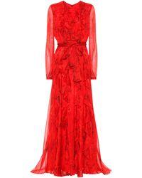 Valentino Vestido de fiesta de seda y chifón estampado - Rojo
