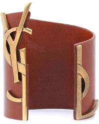 Saint Laurent - Opyum Monogram Leather Bracelet - Lyst