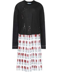 Prada - Lipstick Cotton And Crêpe Dress - Lyst