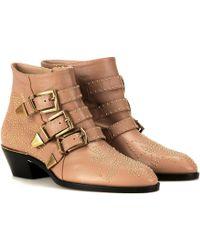 Chloé - Susanna Studded Leather Ankle Boots - Lyst