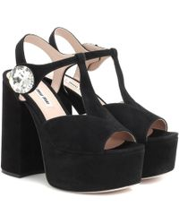 d6bc459d7b4 Lyst - Miu Miu Suede Block Heel Sandals in Black