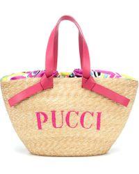 Emilio Pucci - Logo Straw Bucket Bag - Lyst