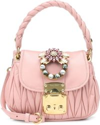 Miu Miu - Embellished Leather Shoulder Bag - Lyst